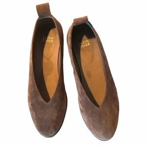 Eileen Fisher Shoes - Eileen Fisher Gray Suede Slip On Flats Women's 7.5